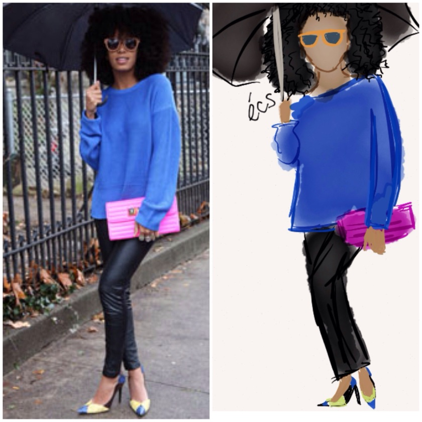 fashion sketch, sketch, made with paper, fifty three, fashion illustration, illustration, draw, drawing, solange, solange knowles, fashion street style, street style