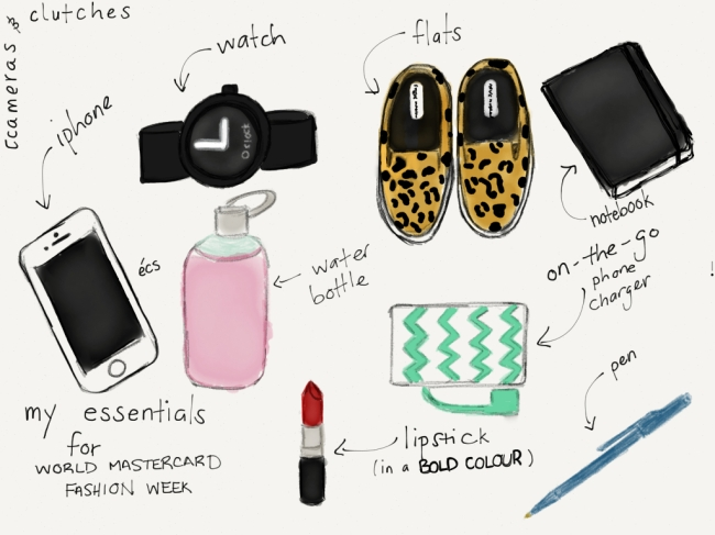 wmcfw_essentials1, world mastercard fashion week, fashion week, toronto fashion week, elana camille, cameras & clutches, cameras and clutches, leopard print shoes, leopard print sneakers, iphone, water bottle, blossom lounge, notebook, moleskine, indigo, chapters, triple c, jcrew, j.crew, phone charger, watch, o clock, pen, red lipstick, fashion illustration, fashion sketch, fashion blog, style blog, canadian, canadian blogger, toronto blogger, elana, essentials, fashion week essentials,