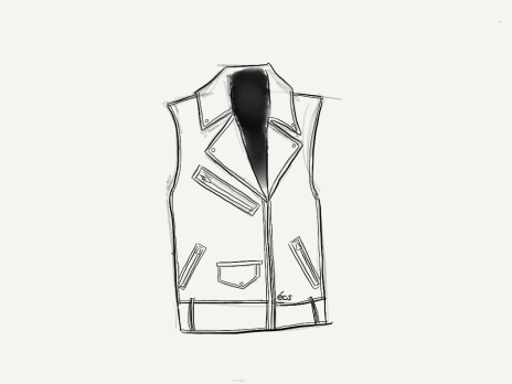 alexander wang, alexanderwangxhm, h&m, h&m canada, h&m toronto, designer collaboration, designercollaboration, biker vest, textured-leather biker vest, shopbop, shop bop, fashion illustration, fashion sketch, sketch, illustration, made with paper, madewithpaper, fiftythree, elanacamille, elana camille, blogger, fashion blogger, style blogger, style, fashion, leather,
