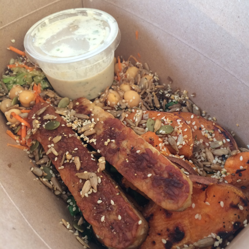 Tofu, Tempeh, Collards, Kale, Chickpeas, Sweet Potatoes, Hemp Cabbage Slaw, Burdock, Mixed Seeds, Rice, Tahini Sauce, Trainers Bowl, Live Market, vegan, vegan meal, foodie, Toronto food, Toronto foodie, vegan foodie