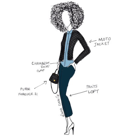 MotoJacket, moto jacket, jacket, toronto weather, toronto fashion, fashion, style, fashion illustration, fashion sketch, forever 21, gap, loft, chambray shirt, purse, crossbody purse, bag, curly hair