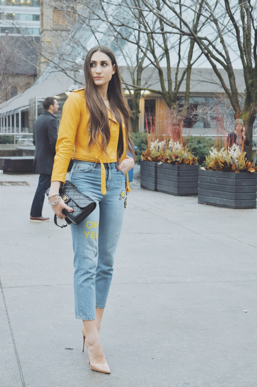 toronto fashion week street style, toronto street style, tfw, tfw2016, #tfw2016, #tcfw16, leather jacket, pop of colour, pop of color, style inspiration, outfit inspiration