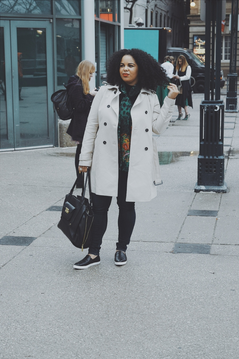 Zara coat, Zara trench coat, fashion trench coat, Dolce and Gabbana, silk scarf, Target Phillip Lim, Joe Fresh, Joe Fresh style, sneaker flats, sneakers, fashion sneakers, platform sneakers, fashion sneaker, denim, curly hair, natural hair