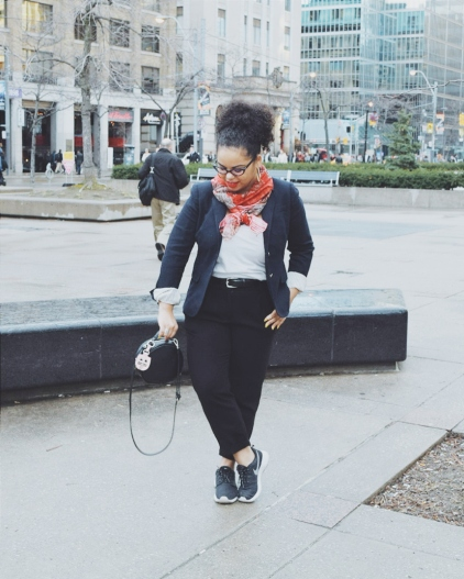 J.crew, j.crew blazer, jcrew style, etro, etro scarf, zara, zara bag, hat box bag, nike, nike roshe, curly hair, natural hair, toronto fashion week, street style, tfw