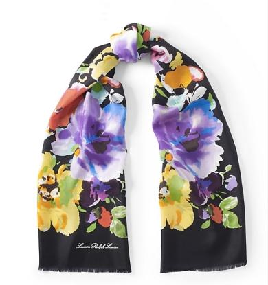 LAUREN RALPH LAUREN, Ralph Lauren, Oblong Silk Print Scarf, print scarf, oblong scarf, floral scarf, floral print silk scarf, floral print scarf