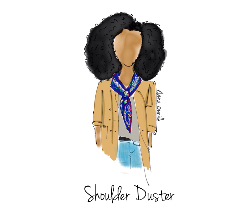 shoulder duster, shoulder duster scarf, scarf styles, silk scarf styles, closet essential, fashion essential, wardrobe essential, fashion illustration, fashion illustrator, toronto illustration, style illustration, style illustrator, digital fashion illustration, made with paper, made with paper fiftythree, curly hair illustration